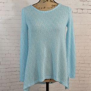 CHELSEA & THEODORE Baby Blue / White Sweater
